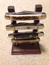 Solid Walnut Folding/Pocket Four Knife Display Stand