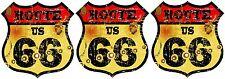 3 X Premium auto pegatinas Route 66 EE. UU. vintage sticker pegatinas auto Styling