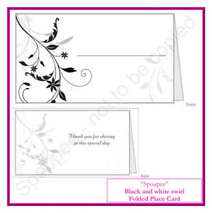 50 wedding place cards placecard name tags black and white gift