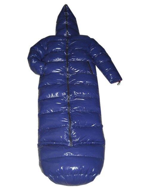 Glanzende Glossy Nylon Wetlook Down Coat Winter Jasje Sleeping Zak