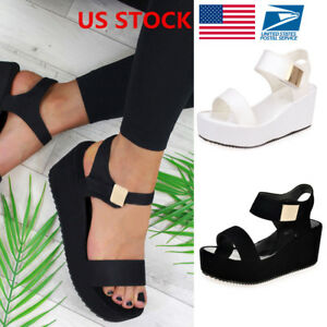 Women-039-s-Wedge-Heels-Ladies-Summer-Platform-Sandals-Open-Toe-Chunky-Shoes-Size-US
