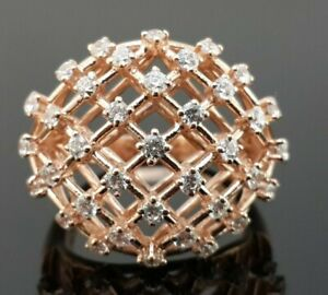 925-Sterling-Silver-cocktail-ring-Pink-Rose-gold-plated-white-cz-cage-ring-women