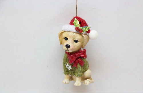 79-80389 Yellow Labrador Retriever Dog Glass Ornament December Diamonds