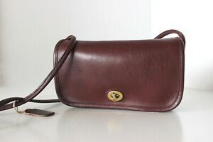 Vintage-COACH-Small-Burgundy-FLAP-DINKY-SHOULDER-BAG-HANDBAG-PURSE-USA-GC