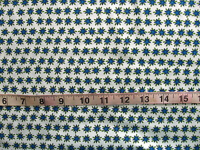 """100/% Cotton Fabric /""""Possibilities/"""" by Avlynn Creations White w//Blue//Lime Stars"""