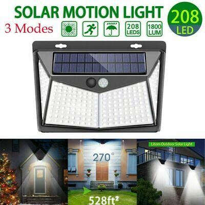 208 LED Solar Power Light PIR Motion Sensor Outdoor Lamp Wall Waterproof USA