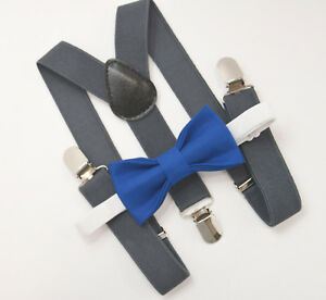 quality how to choose select for genuine Details about Kids Boys Mens Charcoal Gray Suspenders & Royal Blue Bow tie  Baby - ADULT SET