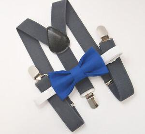 154221720b03 Kids Boys Mens Charcoal Gray Suspenders & Royal Blue Bow tie Baby ...