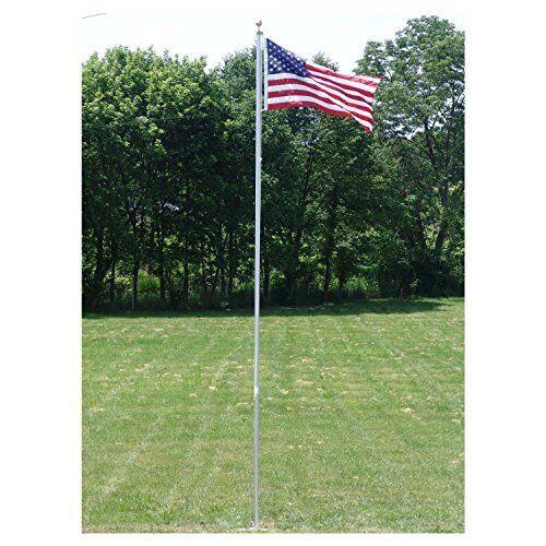 Heavy Duty Residential Flagpole w// Fade Resistant Nylon American Flag 20 Feet