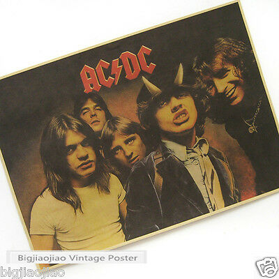 AC/DC Australian Rock Band Vintage Kraft Paper Poster Bar Club Room Decorative