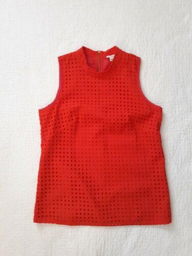 J. Crew Red Cotton Eyelet Sleeveless Top Size 2 - image 1