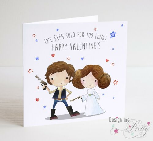 Star Wars Valentines Card With Han Solo And Princess Leia Ebay