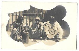 African-Men-smoking-vintage-Ethnic-real-photo-Postcard