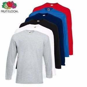 1-3-5-Pack-Fruit-of-the-Loom-Long-Sleeve-T-Shirt-Plain-Tee-Shirt-Top-Sale-Lot