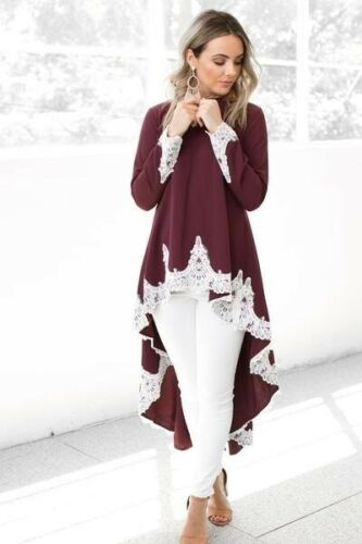 Womens Long Sleeve Lace Floral Irregular Mini Dress Ladies Tuxedo Tunic Long Top