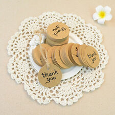 """100x Kraft Paper Hang Tags Wedding Party Favor Label """"thank you"""" Gift Cards"""