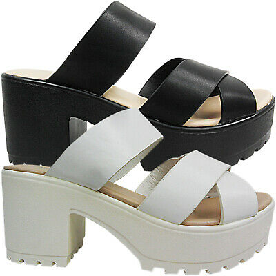 WOMENS LADIES MID BLOCK HEEL CHUNKY MULES SLIP ON GLADIATOR SHOES SIZE STRAPPY