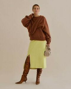 695-Rejina-Pyo-NEW-Scarf-Wrap-Draped-Sweater-Mohair-Blend-Brown-XS-UK6-Colette