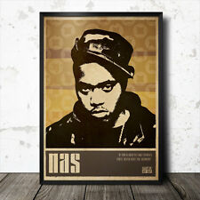 Nas Hip Hop Art Poster Rap Music Tupac Shakur Biggie Smalls Gangster NWA