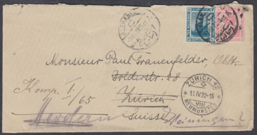 1922 Egypt,Alexandria Zurichtransitredirect Herdern,Thurgau BS,Switzerland
