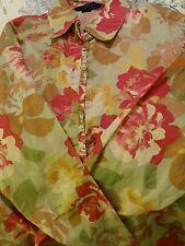 Boden Pretty ladies cotton Rose pattern vintage shirt blouse. Size 12.