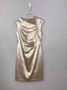 Kay Unger New York Sleeveless Dress Size 6 Beige/Gold Party, Wedding, Coktail