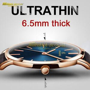 Men-039-s-Leather-Stainless-Steel-6-5mm-Ultra-thin-Business-Quartz-Wrist-Watch