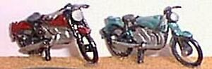 2-parked-Motor-Cycles-G12a-UNPAINTED-OO-Scale-Langley-Model-Kit-1-76-Motorcycles