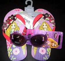 New Disney Tangled RAPUNZEL Flip Flops Sandals Size 11/12 & Sunglasses