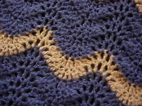 Throw - Hand Crafted Homemade Crocheted Afghan/blanket - Blue -