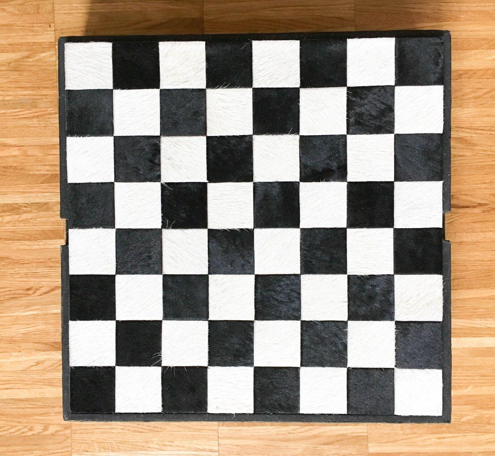 Schachspiel Backgammon Kuhfell   Leder Vintage-Look