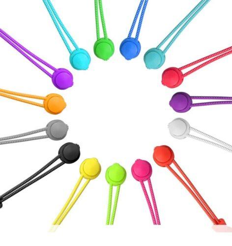 Elastic No Tie Round Shoelaces with Fastening Locking Toggle 100cm Multicolored