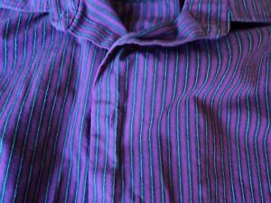 5f4d411a33 Van Heusen Casual Long Sleeve Button Purple Stripes XL 917-17.5) cot ...
