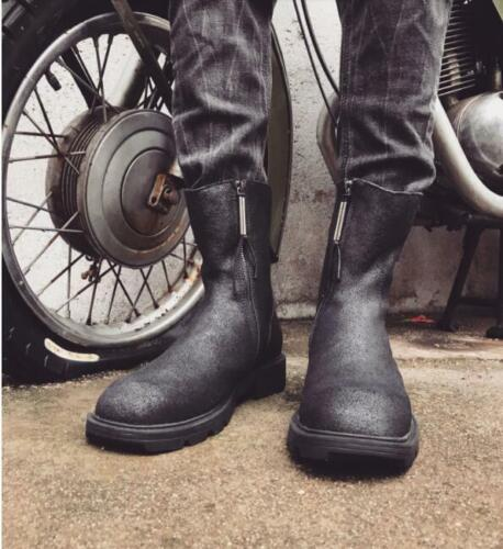 Mens Punk Leather Round Toe Zippers Mid Calf Motorcycle Ankle Boots Shoes 6891