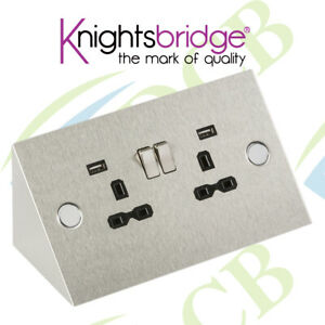 Knightsbridge 13A 2G Mounting Socket with USB Charger Ports Stainless Steel Grey