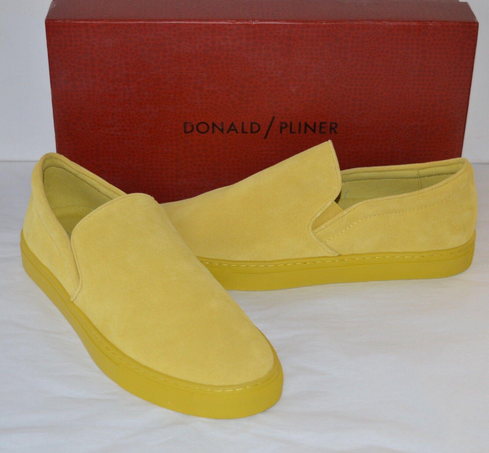 Nuevo  205 Donald J Pliner Arbor Mocasín Zapatillas De Gamuza Becerro Amarillo Limón talla 11.5
