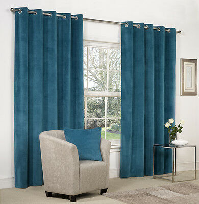 NEW 1 Pair Kingfisher Blue Velvet Ring Top / Eyelet Curtains -  Lined - 9 Sizes