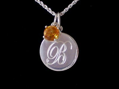 New 925 Sterling Silver Engravable Traditional Charm Genuine Citrine Necklace