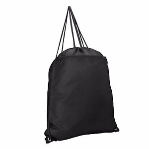 fc393568317f Details about Drawstring Backpack Sack Pack with Zipper in Black