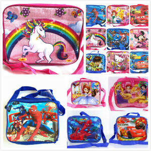 Insulated-Lunch-Pack-Bag-With-Shoulder-Strap-Kids-Boys-Girls-School-Bag