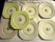 Lot of 7 Old Ivory Syracuse China Square Floral Plates Mixed Colors - DEBLOT