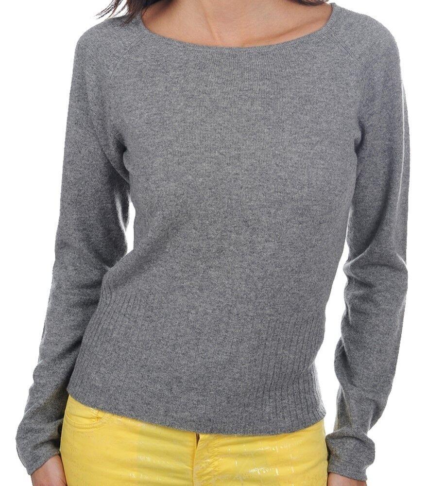 Balldiri 100% Cashmere Damen Pullover Rundhals 2-fädig grau L