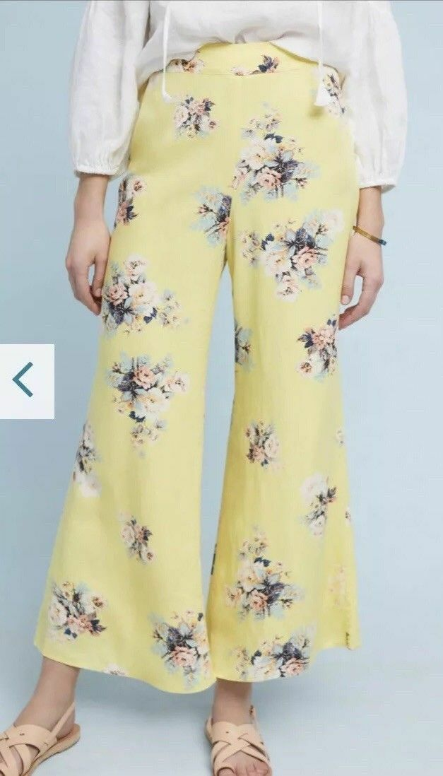 NWT Anthropologie Talese Wide Legs Floral Pants Size 12