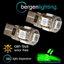 2X W5W T10 501 CANBUS ERROR FREE GREEN 5 LED LUCI LATERALI FANALI SL101303