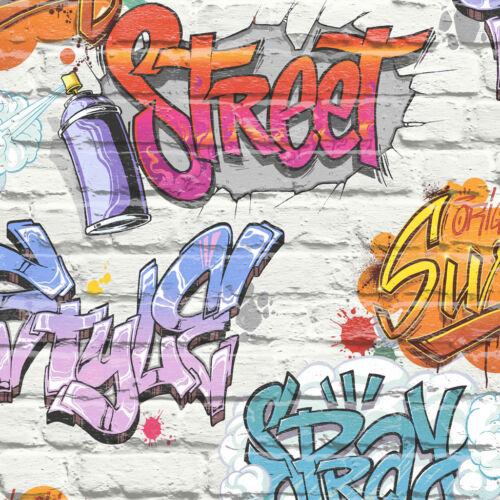 Graffiti Style Wallpaper Brick Wall Effect Slate Stone Urban Street Teens Modern