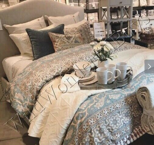 pottery barn duvet covers Pottery Barn Selena Duvet Cover Queen 2 Standard Shams Block Print  pottery barn duvet covers