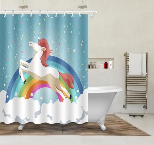 72x72/'/' Jumping Unicorn Bathroom Waterproof Fabric Shower Curtain /& 12 Hooks