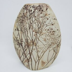 TENMOKU-POTTERY-Malaysia-Handicraft-7-75-Brown-Flora-Ceramic-Vase-1989-Vintage