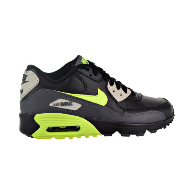 the latest 20c04 910a9 Nike Air Max 90 Leather Big Kids  Shoes Dark Grey Volt Black 833412-