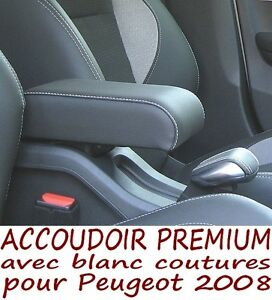 peugeot 2008 accoudoir premium avec blanc coutures armrest mittelarmlehne ebay. Black Bedroom Furniture Sets. Home Design Ideas